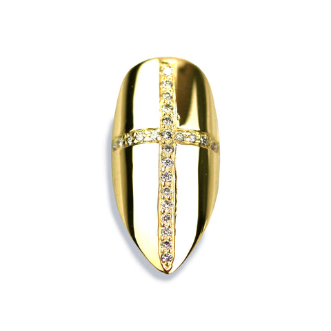 Christina Long Pointy Diamond Yellow Gold Nail