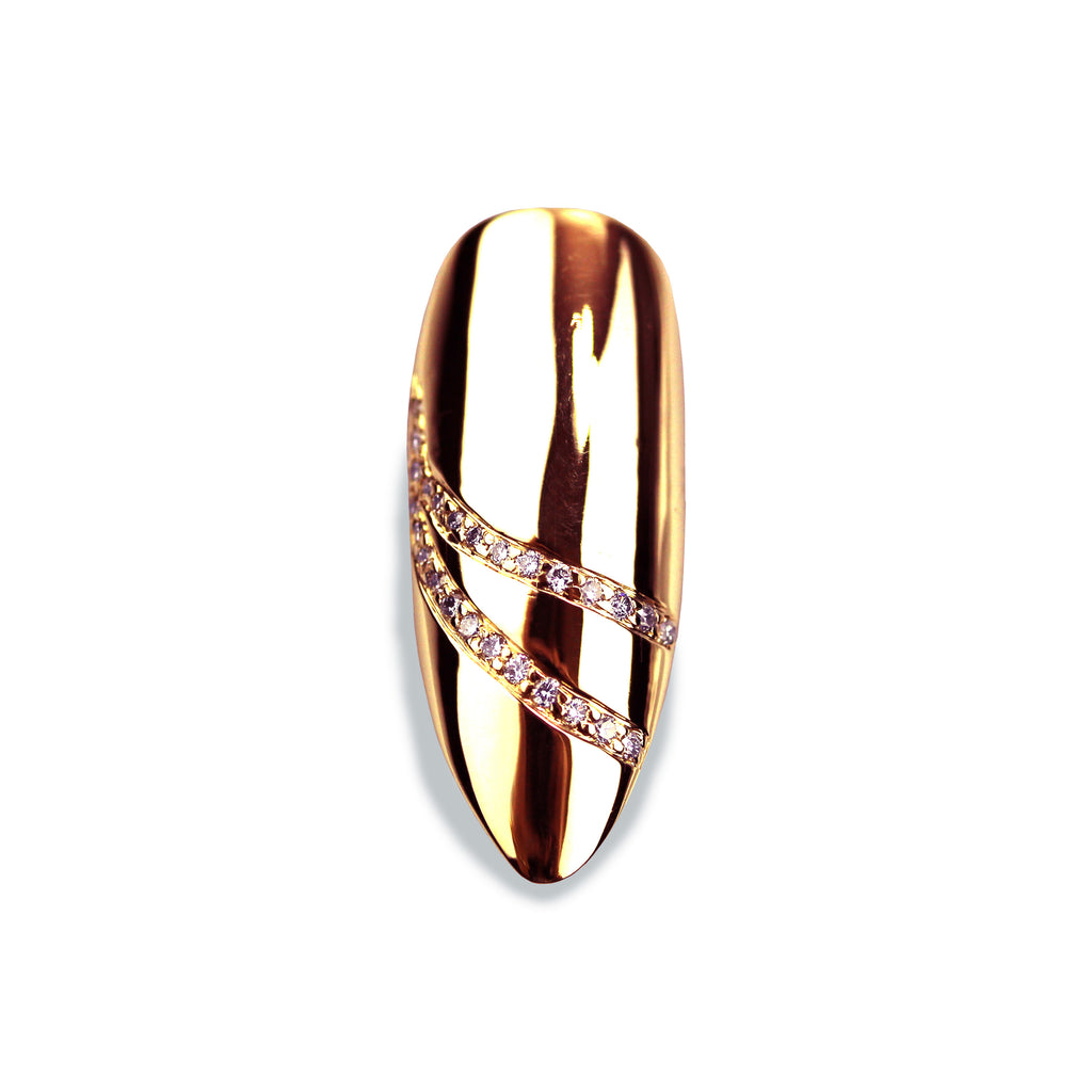 Delilah Long Pointy Diamond Rose Gold Nail