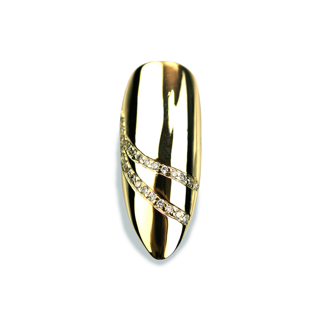 Delilah Long Pointy Diamond Yellow Gold Nail