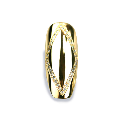 Dianna Long Square Diamond Yellow Gold Nail
