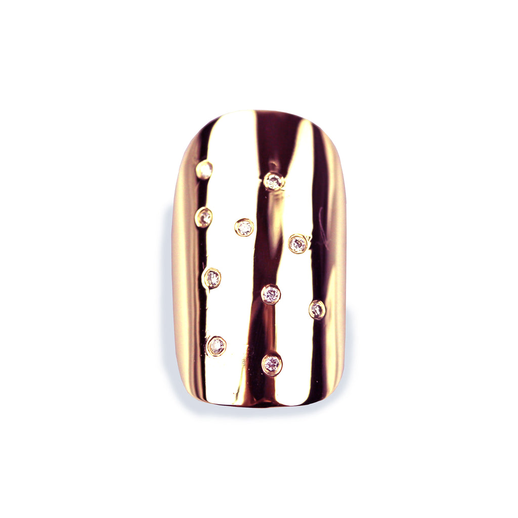 Gloria Square/Round Diamond Rose Gold Nail