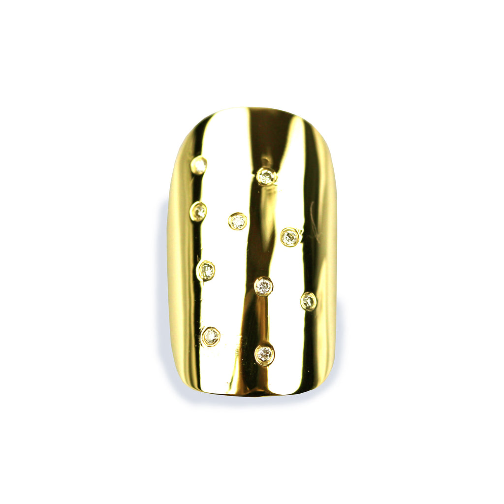 Gloria Square/Round Diamond Yellow Gold Nail