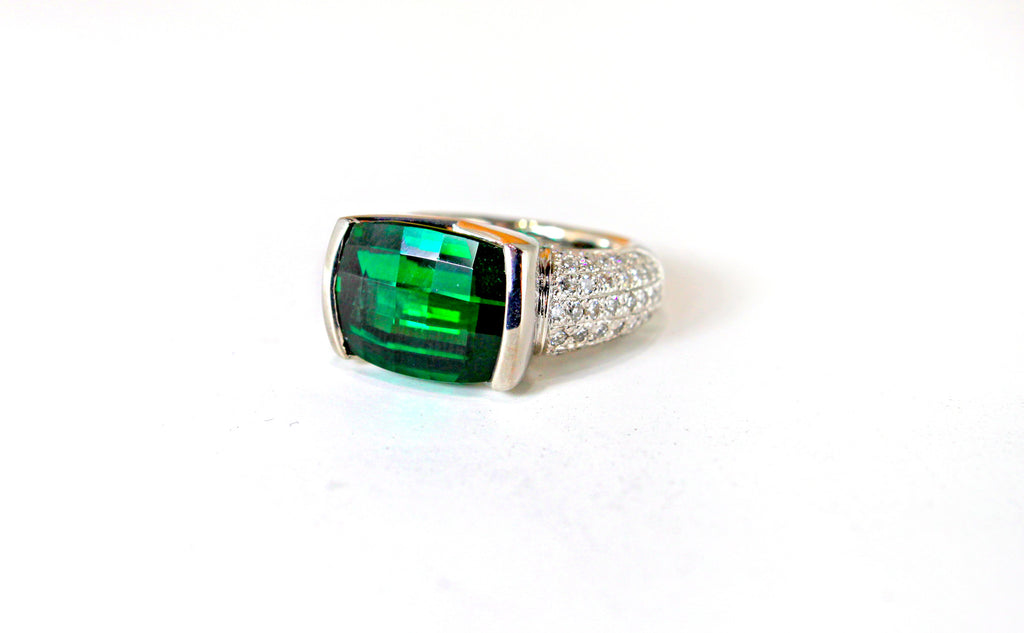 Green Chrome Tourmaline and Diamonds 14KW Ring