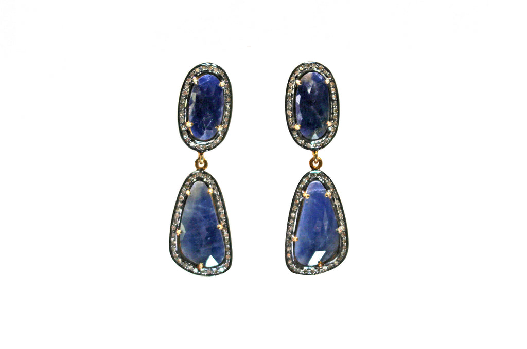 Sapphire earrings with diamonds vermeil over sterling silver