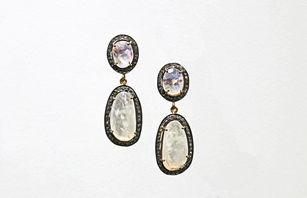 Moonstone earrings with diamonds Vermail over Silver