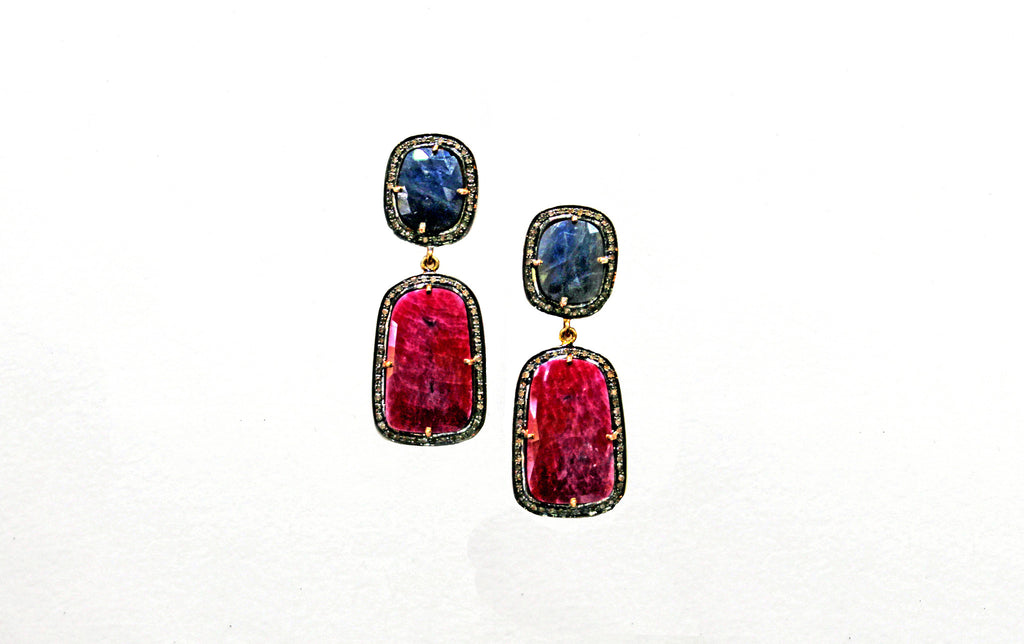 Ruby and sapphire earrings with diamonds