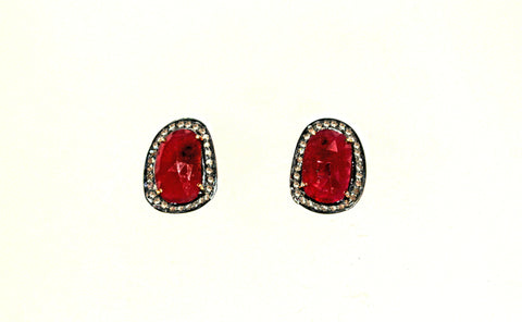 Diamond and ruby vermeil/oxidized silver earrings