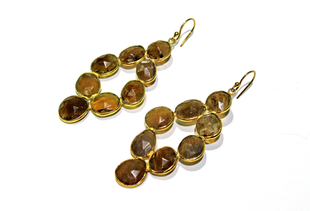Rutilated Quartz earrings in vermeil silver