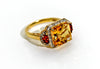 Citrine ring with diamonds & garnets in 14KY plated Sterling Silver