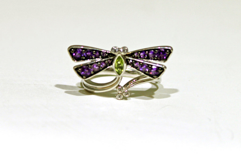 Dragonfly Ring with Diamonds, Purple/ Green Amethyst Ring in Sterling Silver