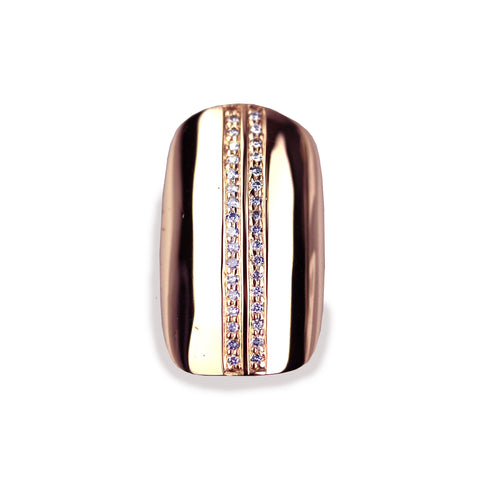 Lila Square Diamond Rose Gold Nail