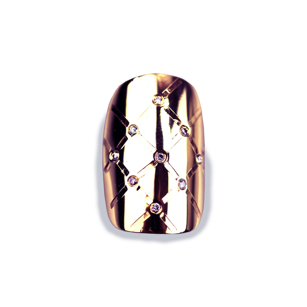 Madison Square/Round Diamond Rose Gold Nail