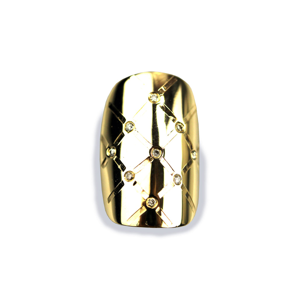 Madison Square/Round Diamond Yellow Gold Nail