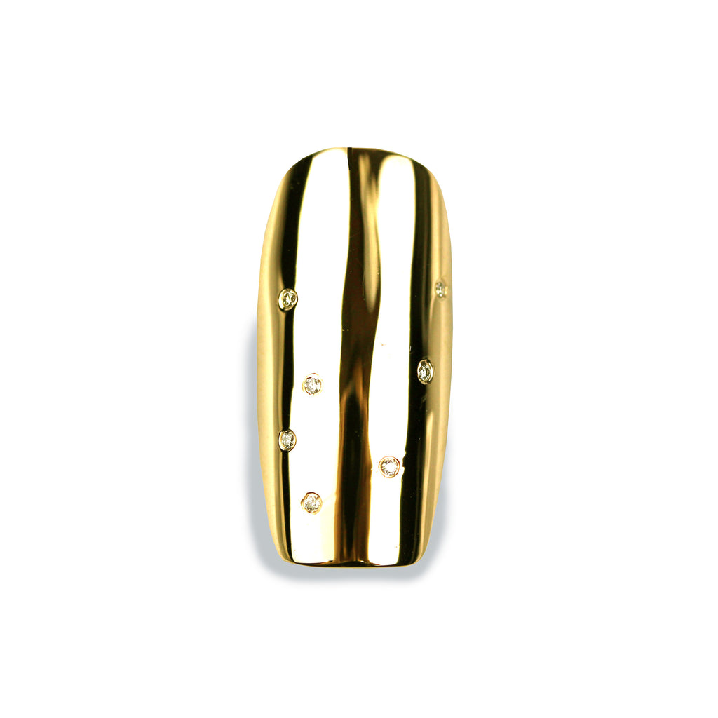Nala Long Square Diamond Yellow Gold Nail