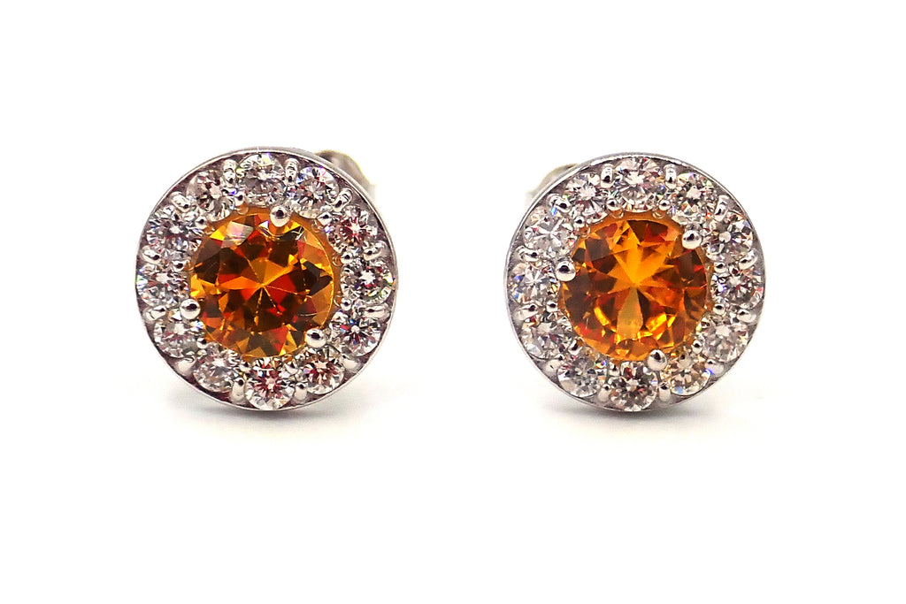 Yellow Sapphire with Diamonds Earrings 14KT White Gold