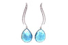 Rosecut Aquamarine and Diamonds Earrings 14KT White Gold