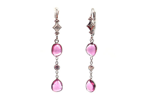 Rose Cut Pink Sapphire and Diamond Line Earrings 14KT White Gold Earrings