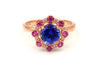 Tanzanite, Pink Tourmaline and Diamond Ring in 14KT Rose gold
