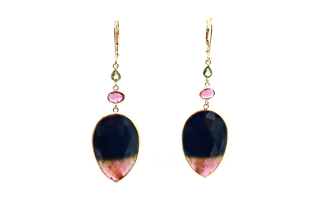 Watermelon Tourmaline and Spinel Earrings 18KT Yellow Gold