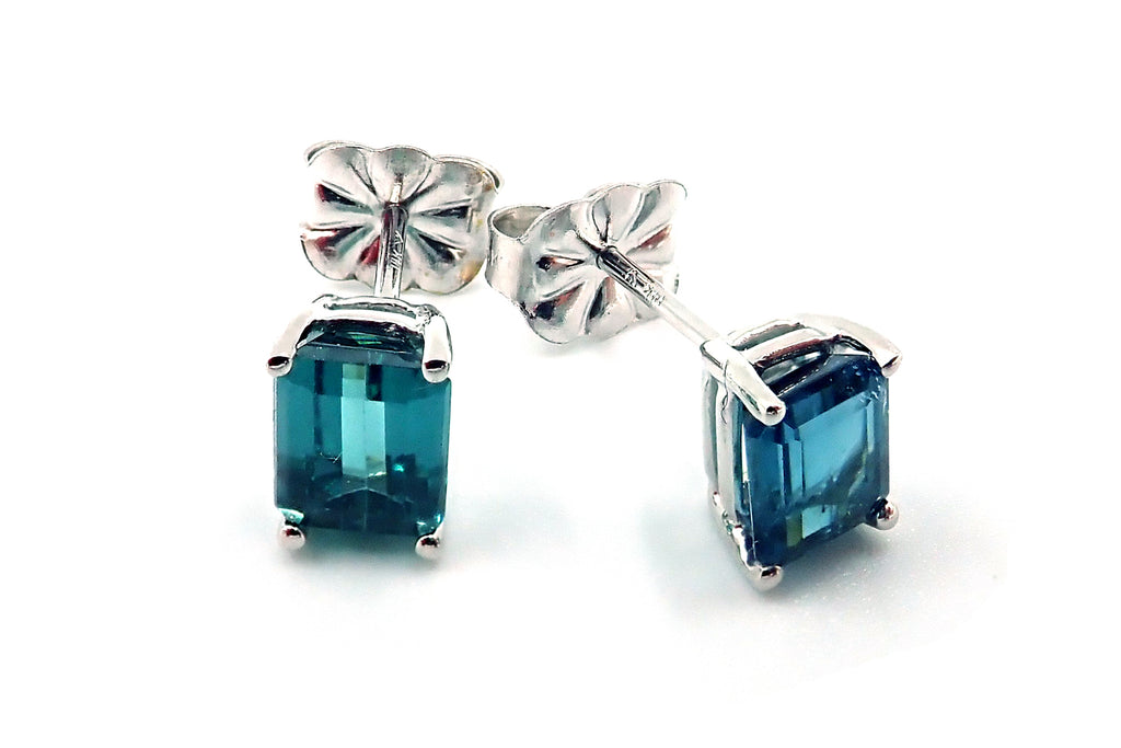 Rare Paraiba Blue Tourmaline Stud Earrings 14KT White Gold