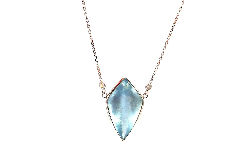 Custom Cut Moss Aquamarine Diamond Necklace in 14KT White Gold