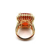 25CT Natural Mexican Fire Opal and Diamond Ring in 18KT Yellow Gold