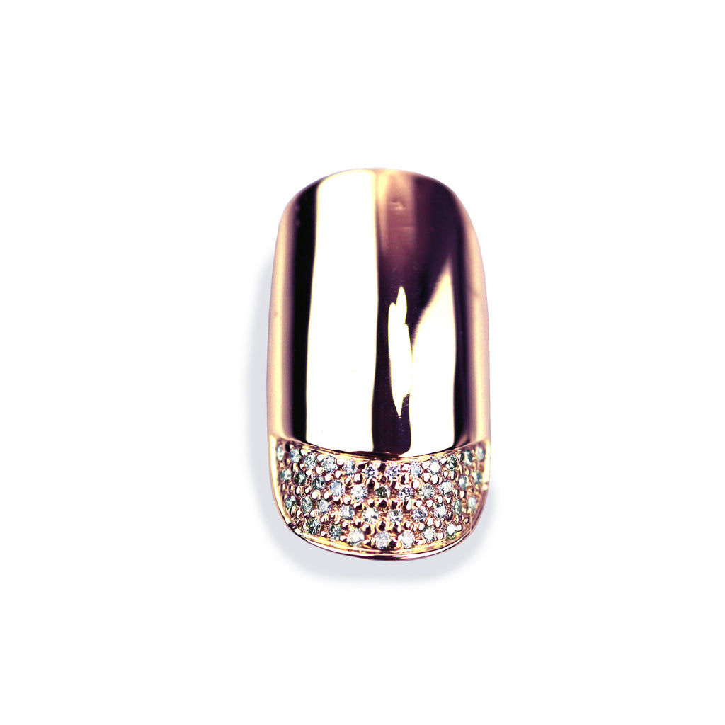 Phoebe Diamond Rose Round Gold Nail