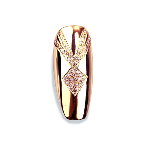 Reia Long Coffin Diamond Rose Gold Nail