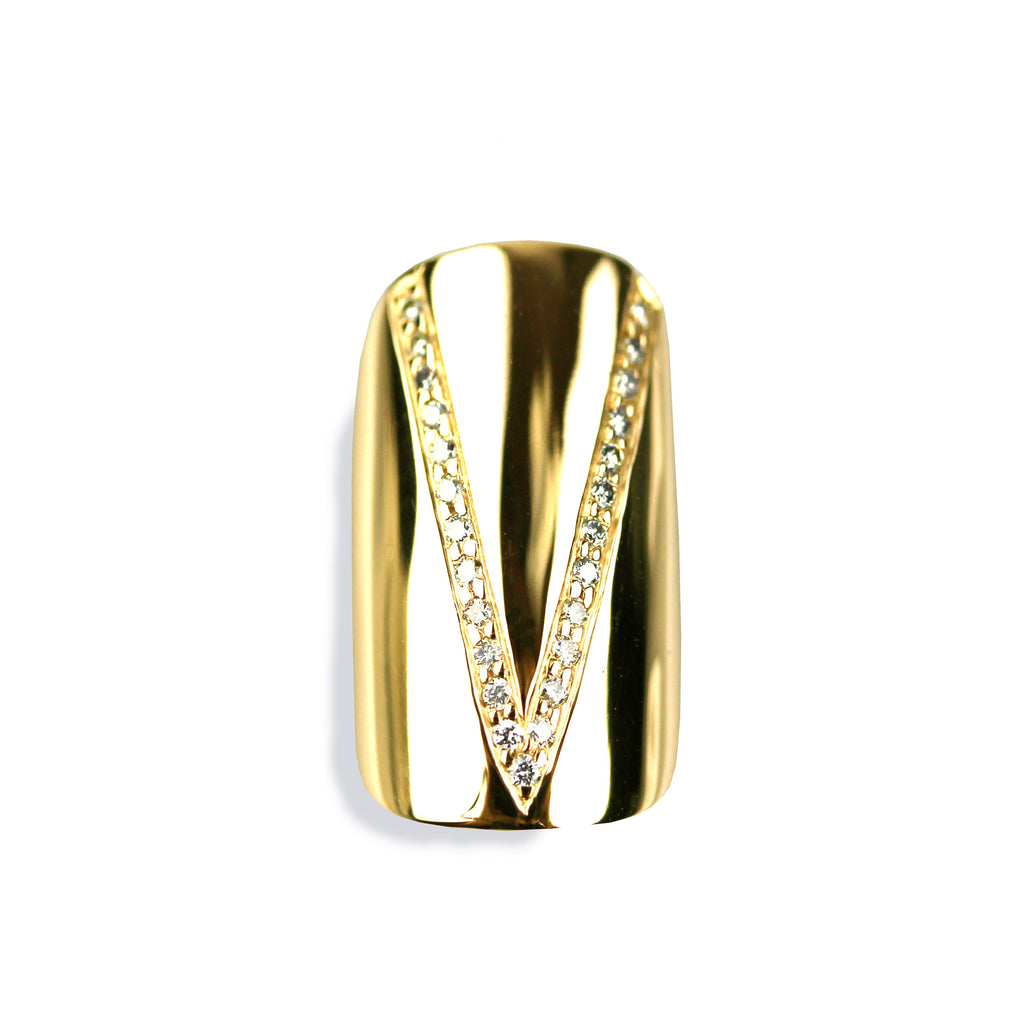 Vera Round Diamond Yellow Gold Nail