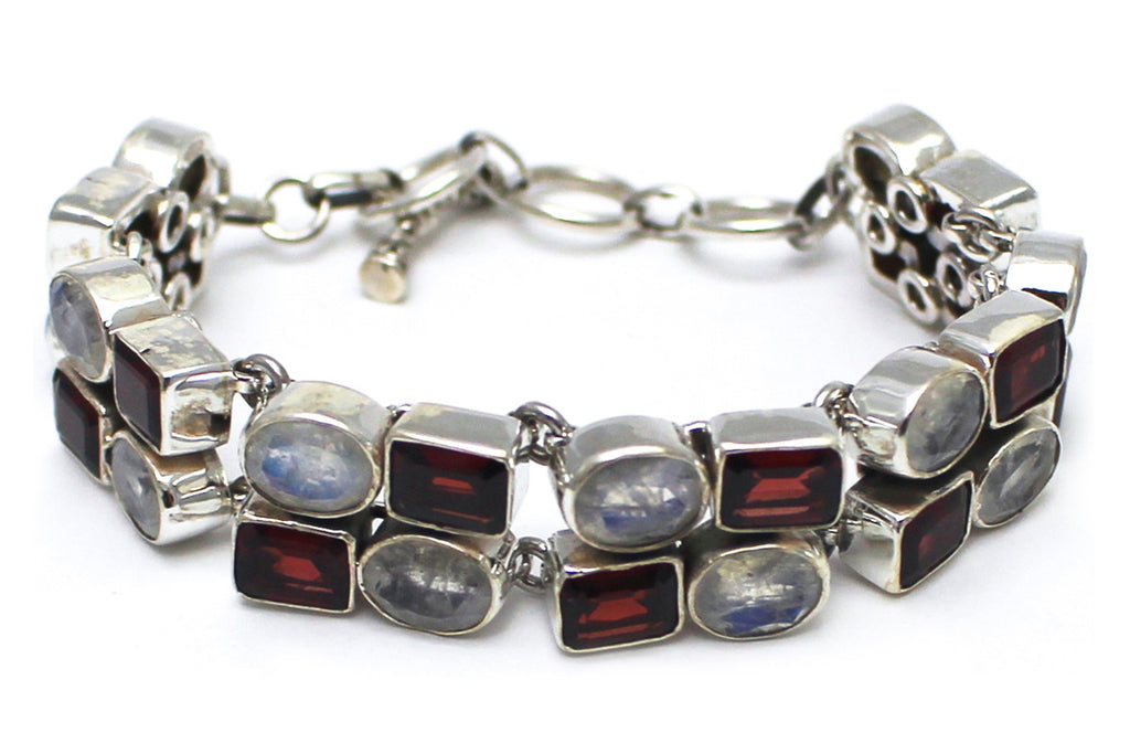 Emerald Cut Garnet Rainbow Moonstone Bracelet in Sterling Silver