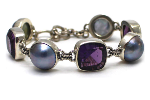 Starburst Cushion Cut Amethyst Mabe Pearl Bracelet in Sterling Silver