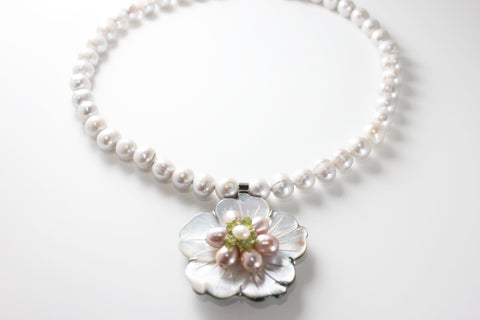Platinum Flower Fresh Water Pearl Necklace