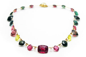 Custom made Watermelon Tourmaline Diamond 14kt Gold Necklace