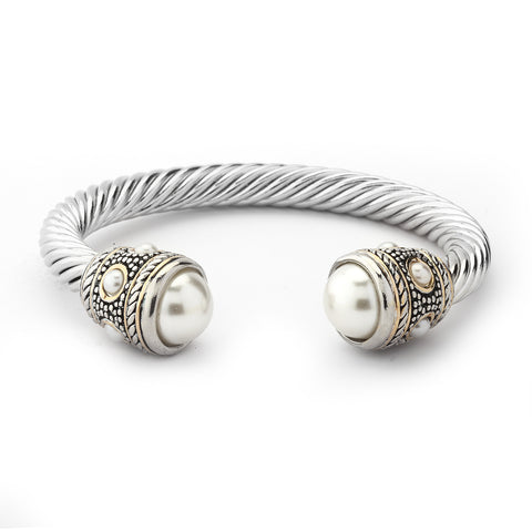 YB03-Designer Inspired Cable Bracelet-Pearl