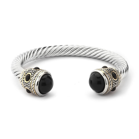 YB04-Designer Inspired Cable Bracelet-Black Crystals