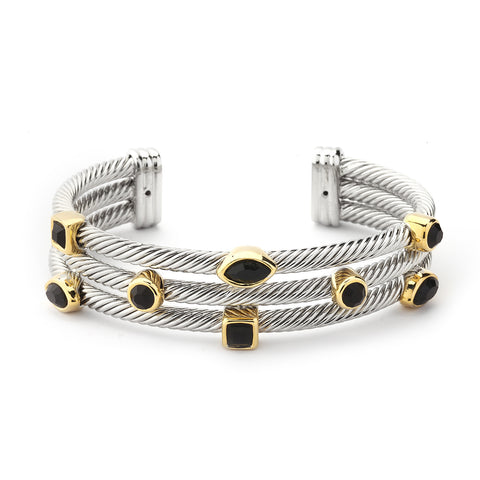 YB06-Designer Inspired Triple-Layered Cable Bracelet-Black Crystals