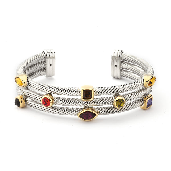 YB07-Designer Inspired Triple-Layered Cable Bracelet-Multi Crystals