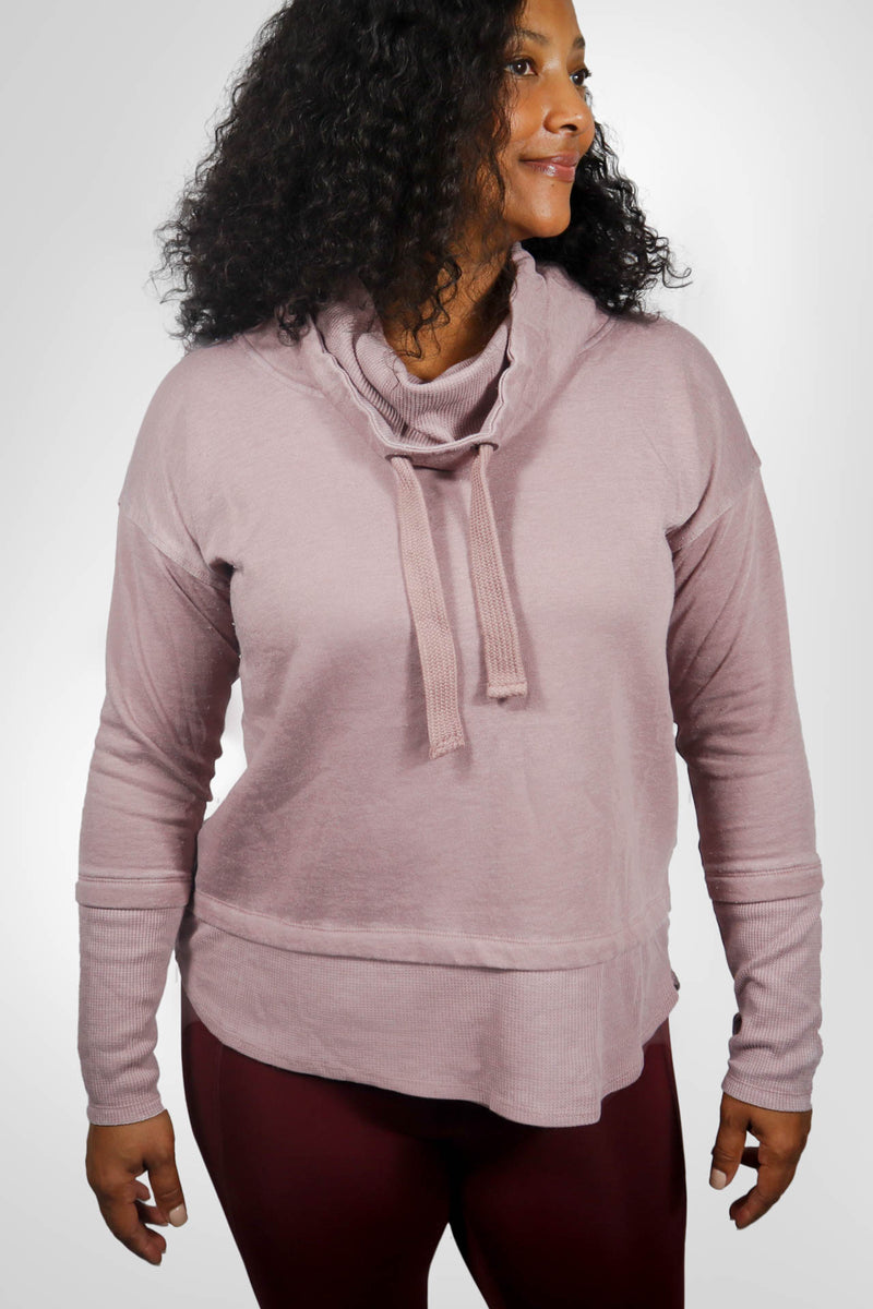 Cowl Neck Mineral-Wash Pullover