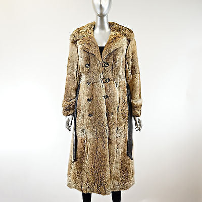 Golden Hare Rabbit Fur Coat with Belt - Size S - Pre-Owned