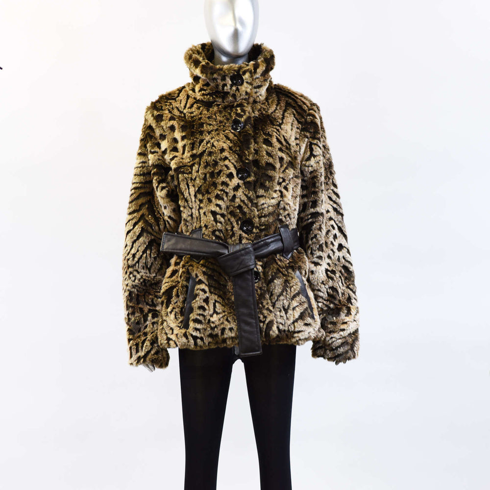 Animal Print Faux Jacket with Leather Belt - Size XL