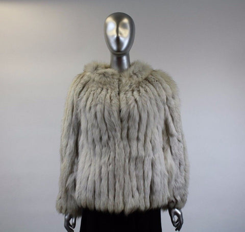 Blue Corded Fox Fur Jacket Size S