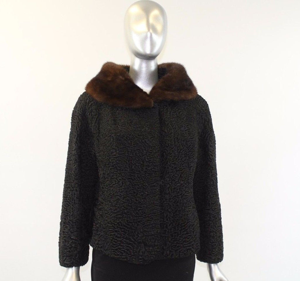 Black Lamb Fur Jacket Size S