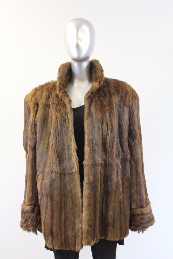 Brown Squirrel Fur Jacket Size M-L