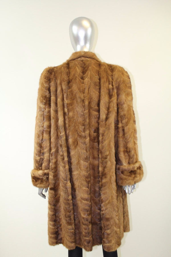 Autumn Haze Section Mink Fur Coat Size S-M