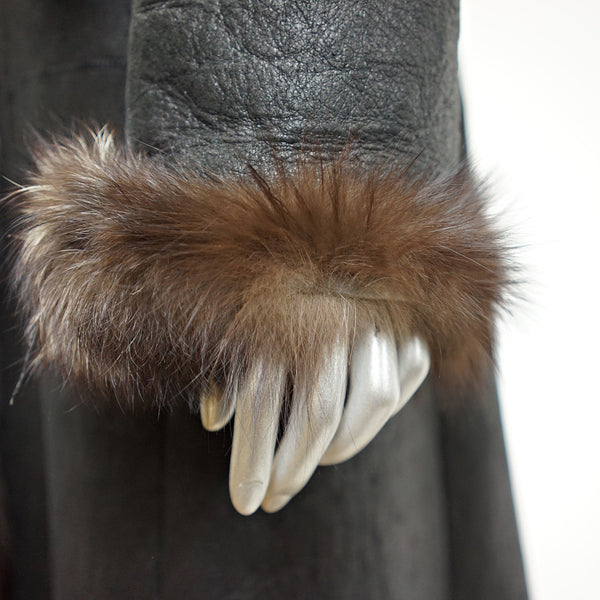 Black Shearling Fur Long Coat - Size S - Pre-Owned