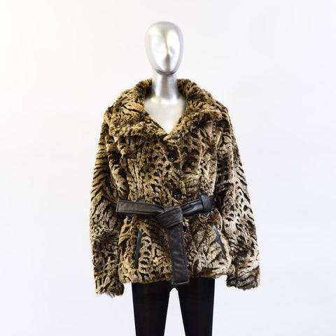 Animal Print Faux Jacket with Leather Belt - Size XL Pre-Owned