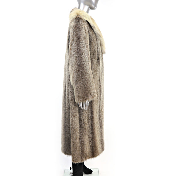 Nutria Coat with Lynx Collar- Size L (Vintage Furs)