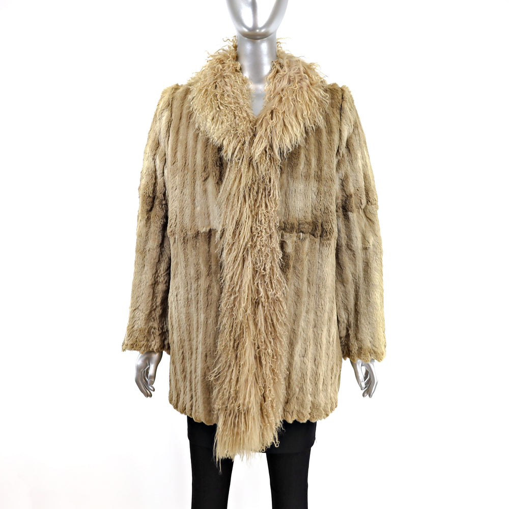 Sheared Beaver 3/4 Coat with Tibetan Lamb Tuxedo- Size M (Vintage Furs)