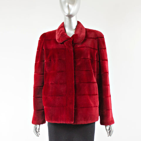 Dyed Red Sheared Mink Fur Jacket - Size S