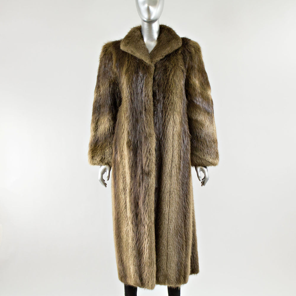 Long Hair Beaver Fur Coat - Size S/M